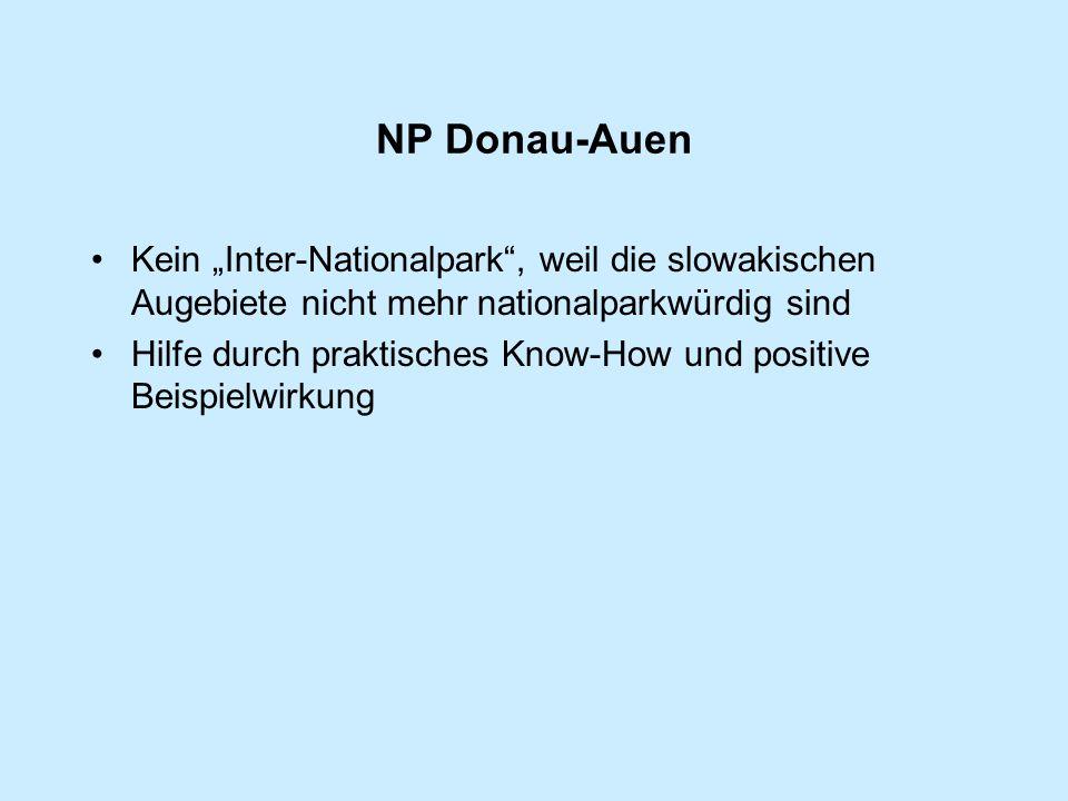 """NP Donau-Auen Kein """"Inter-Nationalpark , weil die slowakischen Augebiete nicht mehr nationalparkwürdig sind Hilfe durch praktisches Know-How und positive Beispielwirkung"""