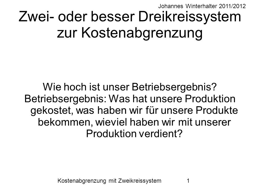 Johannes Winterhalter 2011/2012 Kostenabgrenzung mit Zweikreissystem 12 Abschluss Wir saldieren die Aufwendungen und Erträge aus Spalten 1 und 2.