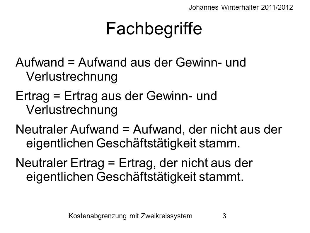 Johannes Winterhalter 2011/2012 Kostenabgrenzung mit Zweikreissystem 3 Fachbegriffe Aufwand = Aufwand aus der Gewinn- und Verlustrechnung Ertrag = Ert