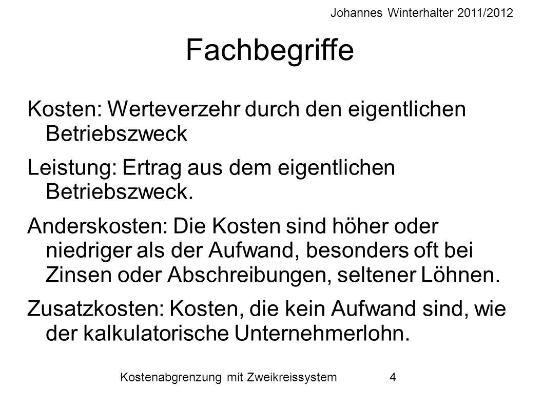 Johannes Winterhalter 2011/2012 Kostenabgrenzung mit Zweikreissystem 4 Fachbegriffe Kosten: Werteverzehr durch den eigentlichen Betriebszweck Leistung
