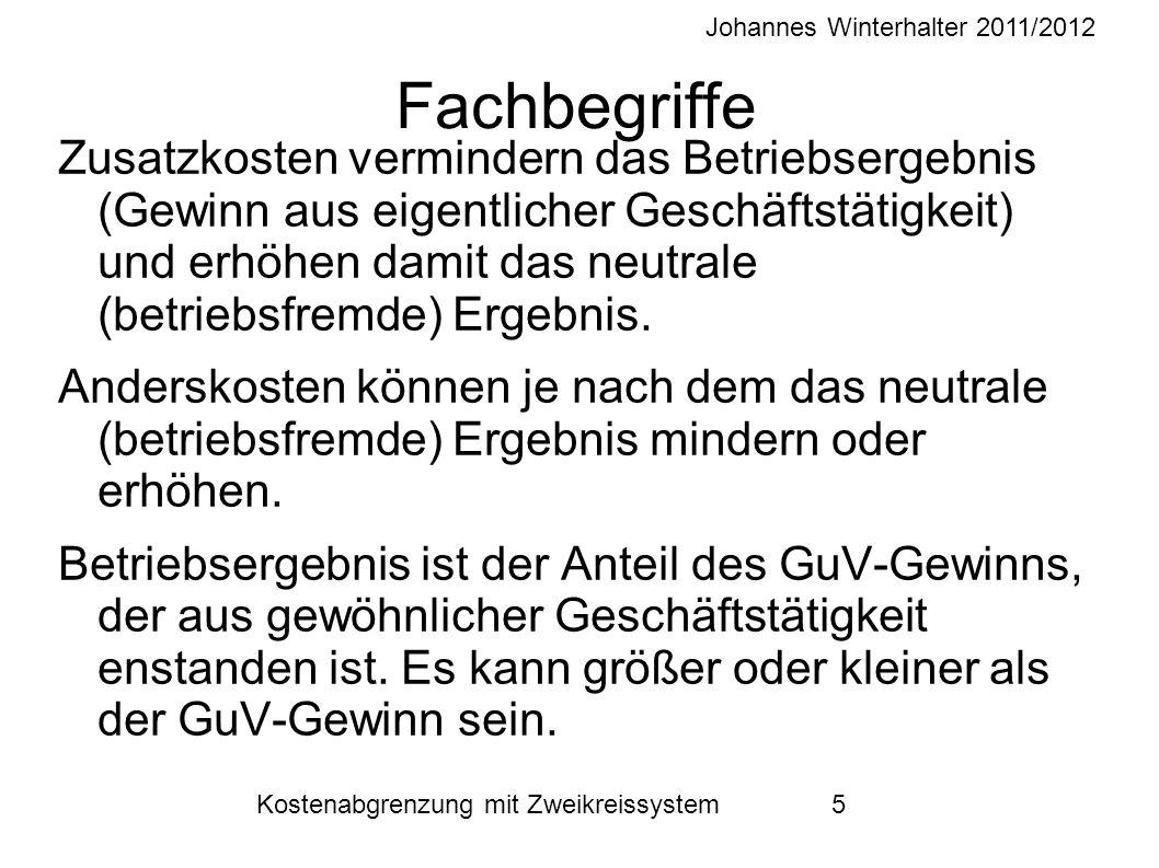 Johannes Winterhalter 2011/2012 Kostenabgrenzung mit Zweikreissystem 5 Fachbegriffe Zusatzkosten vermindern das Betriebsergebnis (Gewinn aus eigentlicher Geschäftstätigkeit) und erhöhen damit das neutrale (betriebsfremde) Ergebnis.
