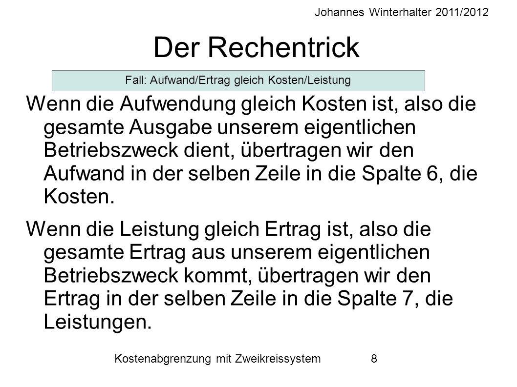 Johannes Winterhalter 2011/2012 Kostenabgrenzung mit Zweikreissystem 8 Der Rechentrick Wenn die Aufwendung gleich Kosten ist, also die gesamte Ausgabe