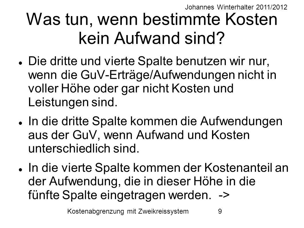 Johannes Winterhalter 2011/2012 Kostenabgrenzung mit Zweikreissystem 9 Was tun, wenn bestimmte Kosten kein Aufwand sind? Die dritte und vierte Spalte