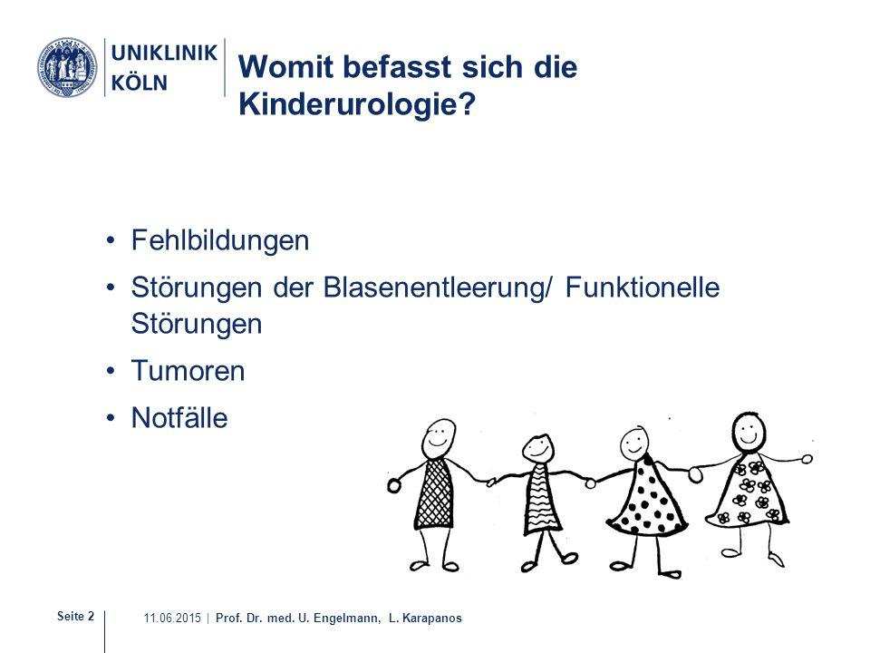 Seite 2 11.06.2015 | Prof. Dr. med. U. Engelmann, L. Karapanos Womit befasst sich die Kinderurologie? Fehlbildungen Störungen der Blasenentleerung/ Fu