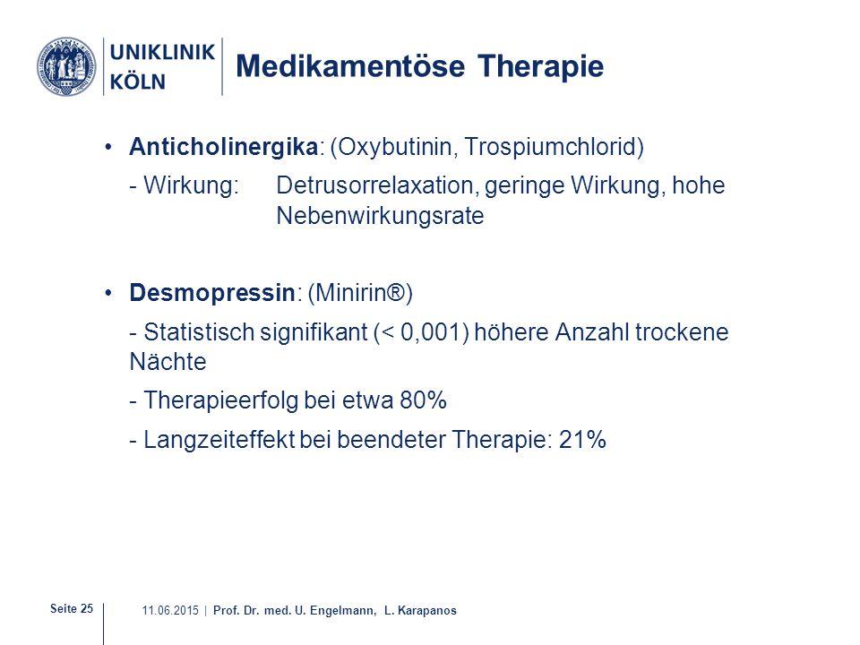 Seite 25 11.06.2015 | Prof. Dr. med. U. Engelmann, L. Karapanos Medikamentöse Therapie Anticholinergika: (Oxybutinin, Trospiumchlorid) - Wirkung: Detr
