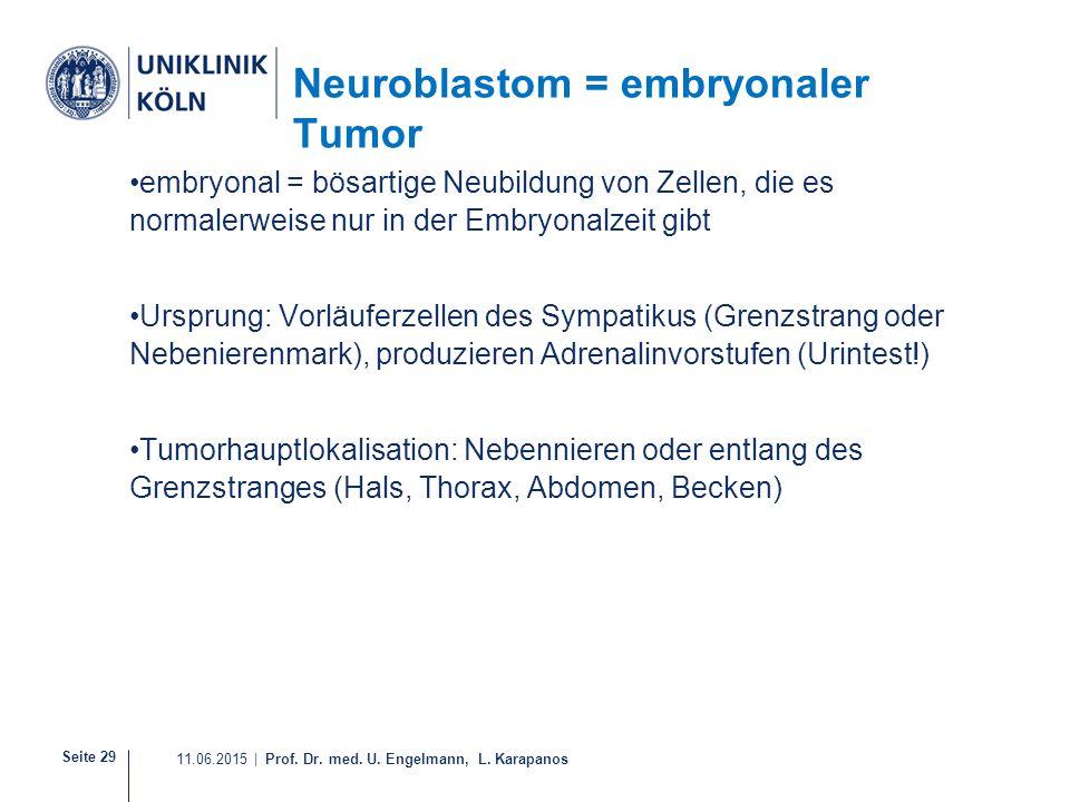 Seite 29 11.06.2015 | Prof. Dr. med. U. Engelmann, L. Karapanos Neuroblastom = embryonaler Tumor embryonal = bösartige Neubildung von Zellen, die es n