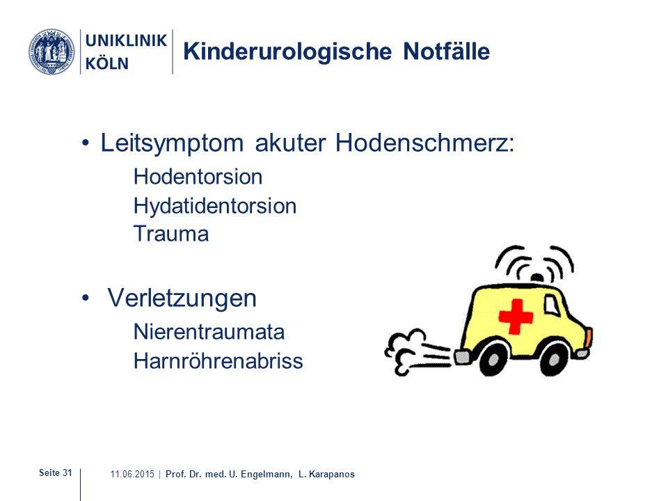 Seite 31 11.06.2015 | Prof. Dr. med. U. Engelmann, L. Karapanos Kinderurologische Notfälle Leitsymptom akuter Hodenschmerz: Hodentorsion Hydatidentors