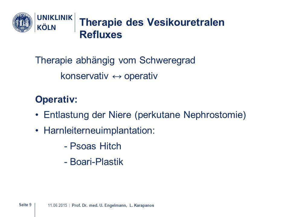 Seite 9 11.06.2015 | Prof. Dr. med. U. Engelmann, L. Karapanos Therapie des Vesikouretralen Refluxes Therapie abhängig vom Schweregrad konservativ ↔ o