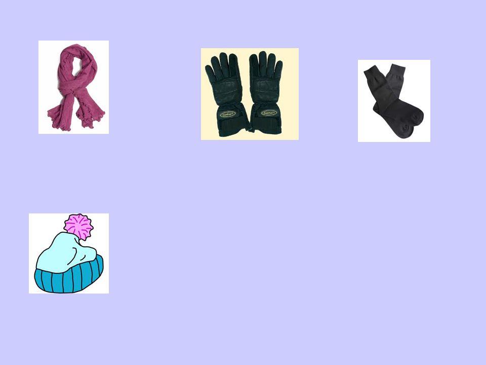 Handschuhe einen Schal Socken eine Wollmütze
