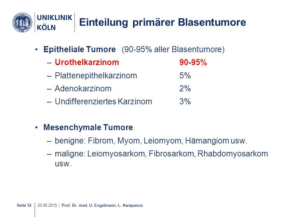 Seite 12 25.06.2015 | Prof. Dr. med. U. Engelmann, L. Karapanos Einteilung primärer Blasentumore Epitheliale Tumore(90-95% aller Blasentumore) –Urothe