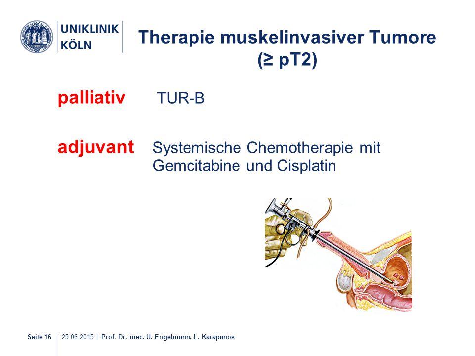 Seite 16 25.06.2015 | Prof. Dr. med. U. Engelmann, L. Karapanos Therapie muskelinvasiver Tumore (≥ pT2) palliativ TUR-B adjuvant Systemische Chemother