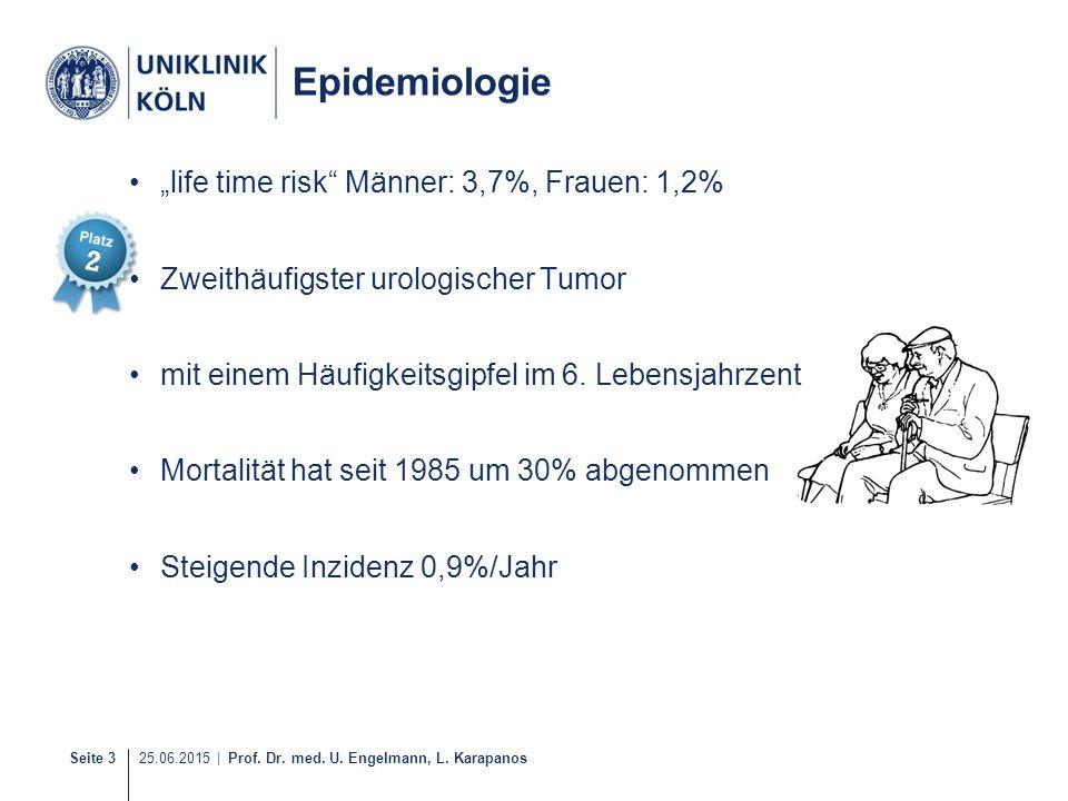 "Seite 3 25.06.2015 | Prof. Dr. med. U. Engelmann, L. Karapanos 5-40 Epidemiologie ""life time risk"" Männer: 3,7%, Frauen: 1,2% Zweithäufigster urologis"