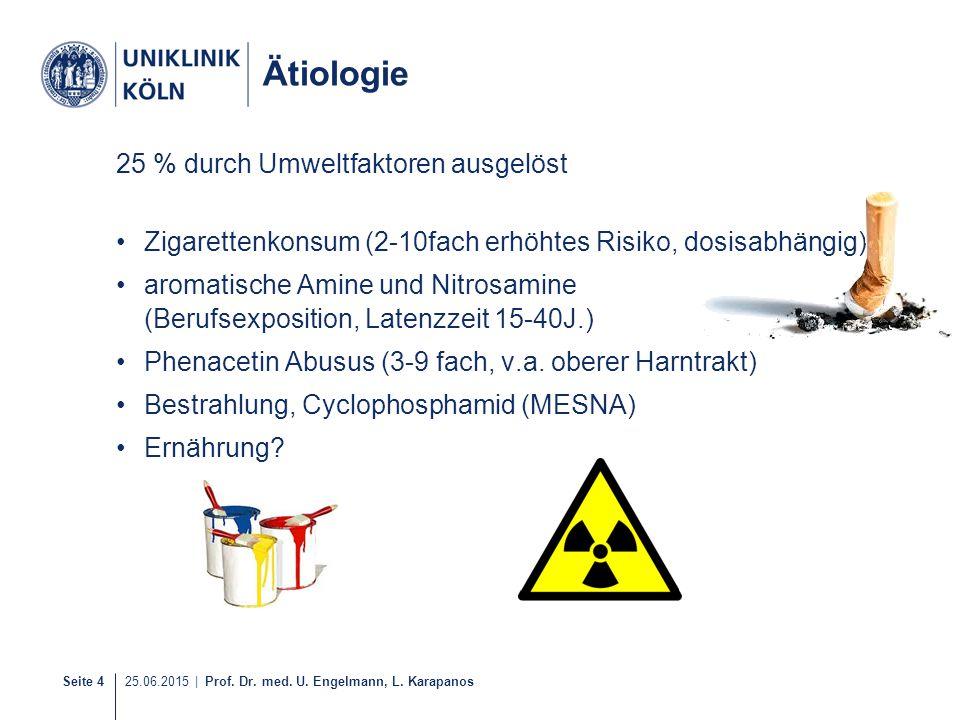 Seite 4 25.06.2015 | Prof. Dr. med. U. Engelmann, L. Karapanos 6-40 Ätiologie 25 % durch Umweltfaktoren ausgelöst Zigarettenkonsum (2-10fach erhöhtes