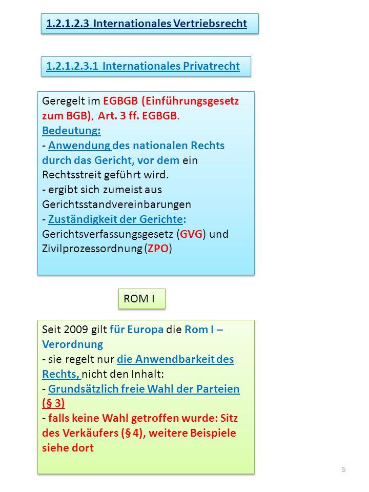 5 1.2.1.2.3 Internationales Vertriebsrecht Geregelt im EGBGB (Einführungsgesetz zum BGB), Art.