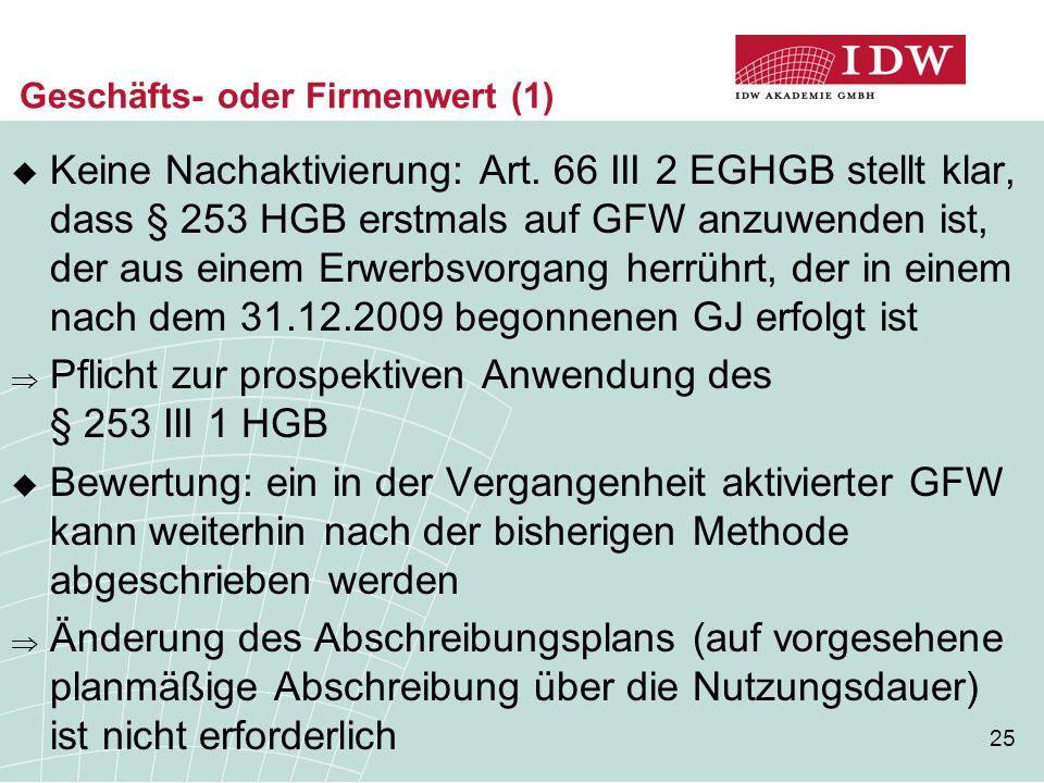 25 Geschäfts- oder Firmenwert (1)  Keine Nachaktivierung: Art. 66 III 2 EGHGB stellt klar, dass § 253 HGB erstmals auf GFW anzuwenden ist, der aus ei