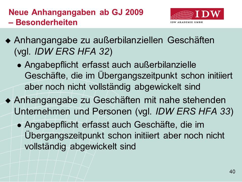 40 Neue Anhangangaben ab GJ 2009 – Besonderheiten  Anhangangabe zu außerbilanziellen Geschäften (vgl. IDW ERS HFA 32) Angabepflicht erfasst auch auße
