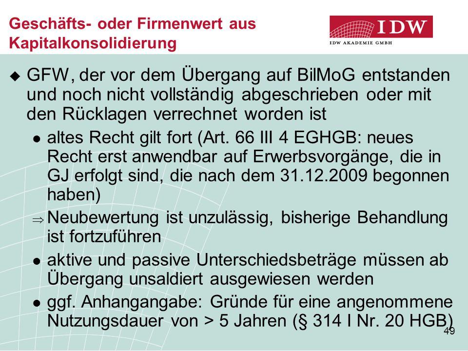 49 Geschäfts- oder Firmenwert aus Kapitalkonsolidierung  GFW, der vor dem Übergang auf BilMoG entstanden und noch nicht vollständig abgeschrieben ode