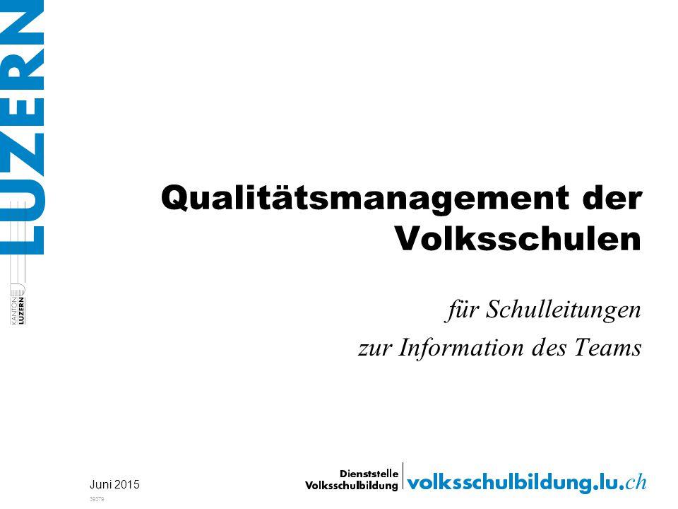 Qualitätsmanagement der Volksschulen für Schulleitungen zur Information des Teams Juni 2015 39379