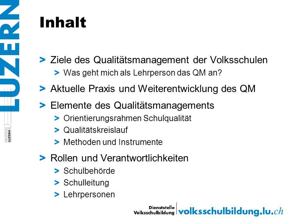 Inhalt > Ziele des Qualitätsmanagement der Volksschulen > Was geht mich als Lehrperson das QM an? > Aktuelle Praxis und Weiterentwicklung des QM > Ele