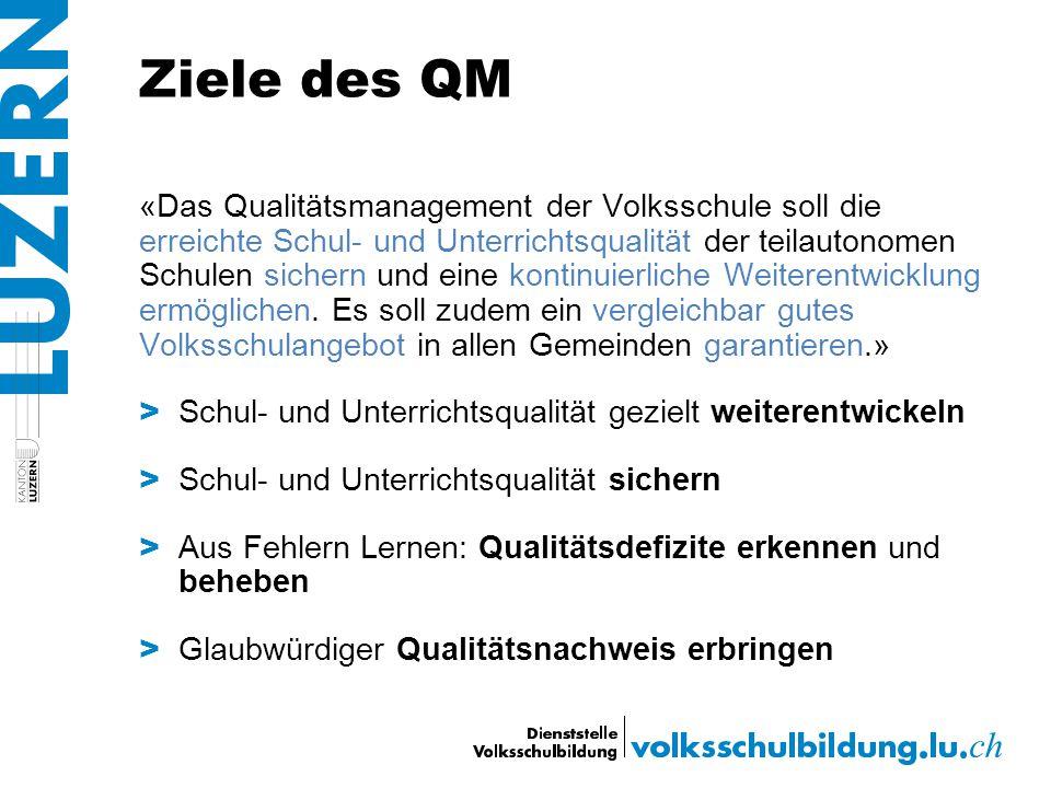 Ziele des QM «Das Qualitätsmanagement der Volksschule soll die erreichte Schul- und Unterrichtsqualität der teilautonomen Schulen sichern und eine kon