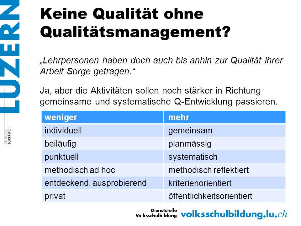 """Keine Qualität ohne Qualitätsmanagement? """"Lehrpersonen haben doch auch bis anhin zur Qualität ihrer Arbeit Sorge getragen."""" Ja, aber die Aktivitäten s"""