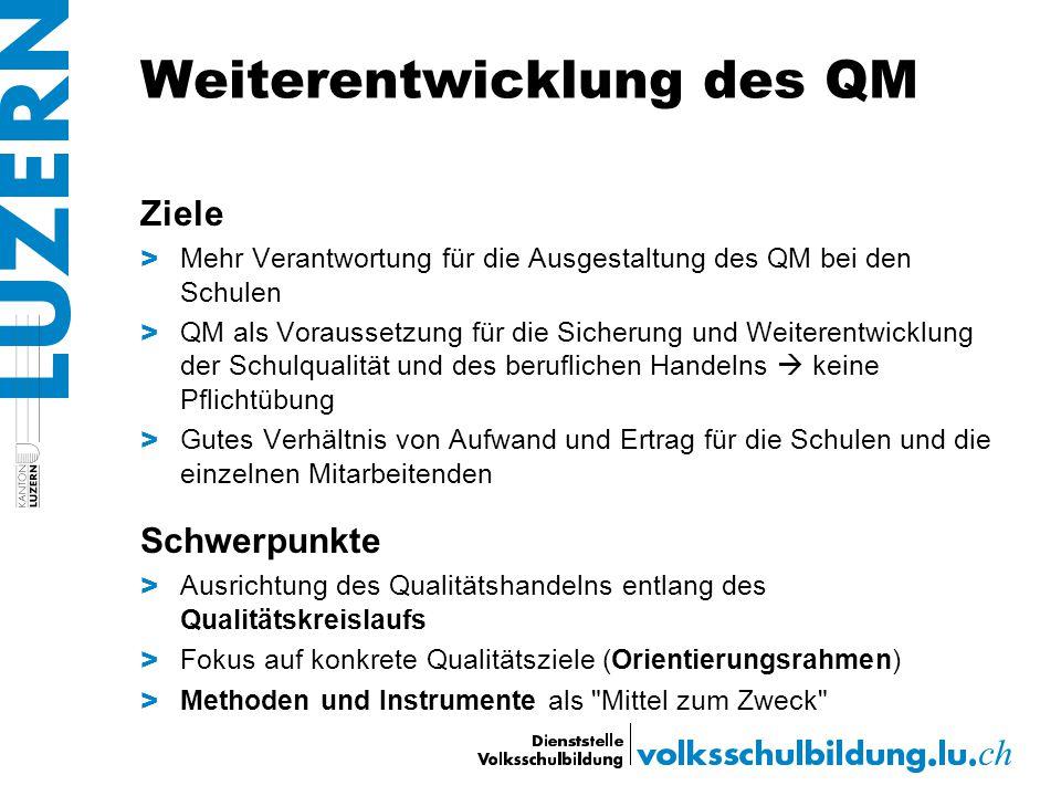Weiterentwicklung des QM Ziele > Mehr Verantwortung für die Ausgestaltung des QM bei den Schulen > QM als Voraussetzung für die Sicherung und Weiteren