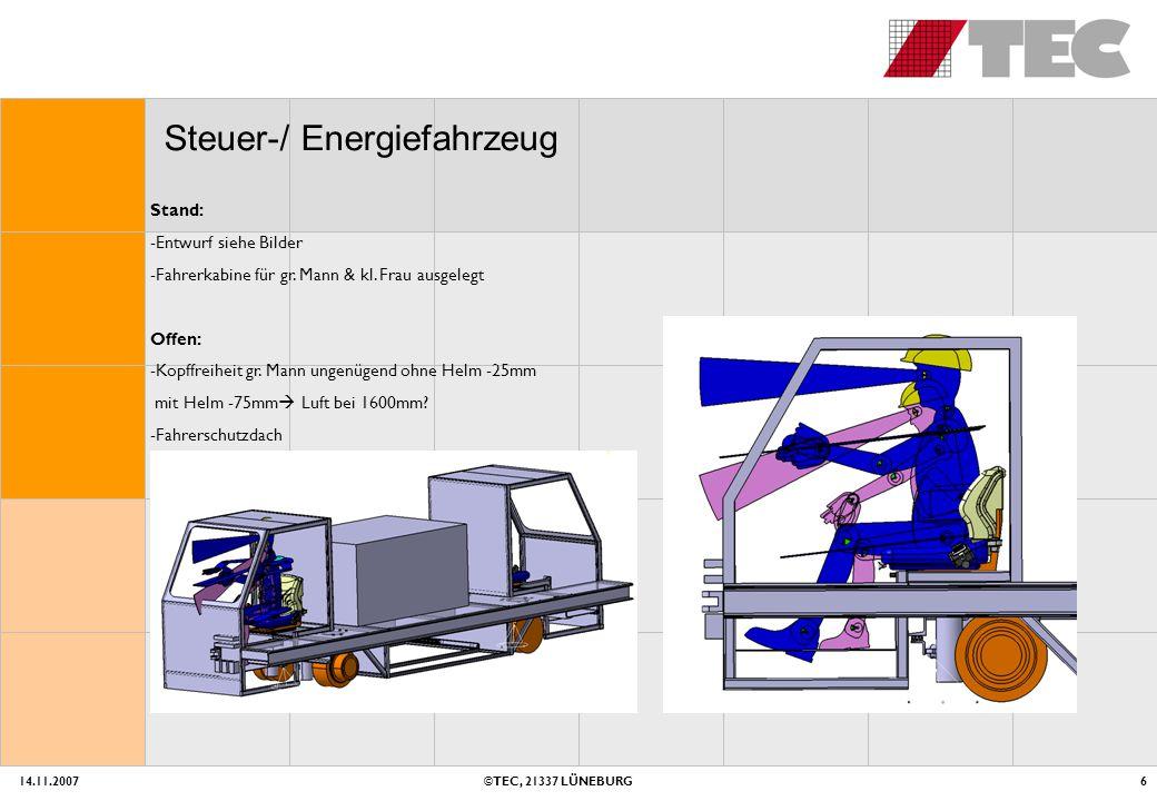 14.11.2007©TEC, 21337 LÜNEBURG6 Steuer-/ Energiefahrzeug Stand: -Entwurf siehe Bilder -Fahrerkabine für gr.