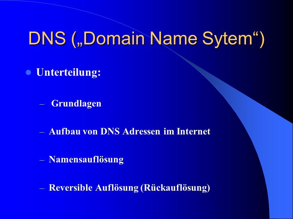 """DNS (""""Domain Name Sytem"""") Unterteilung: – Grundlagen – Aufbau von DNS Adressen im Internet – Namensauflösung – Reversible Auflösung (Rückauflösung)"""