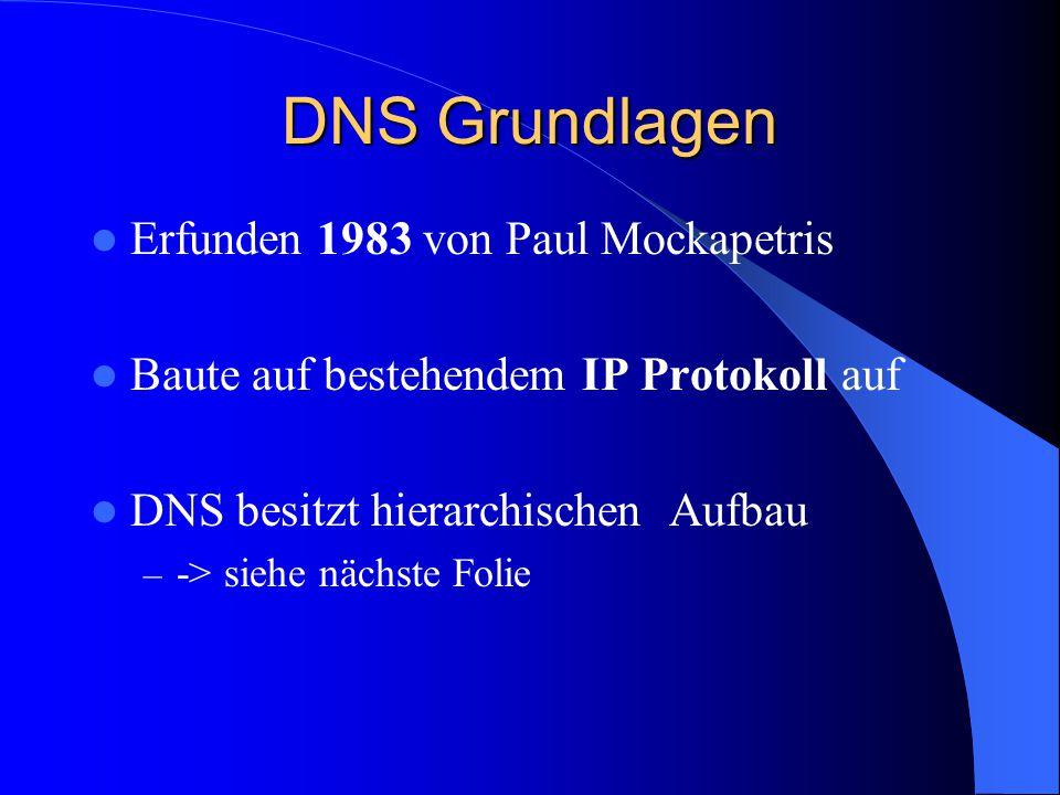 DNS Grundlagen Erfunden 1983 von Paul Mockapetris Baute auf bestehendem IP Protokoll auf DNS besitzt hierarchischen Aufbau – -> siehe nächste Folie