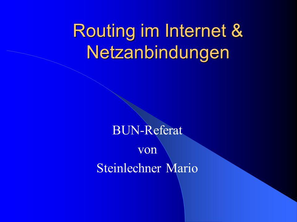 Routing im Internet & Netzanbindungen BUN-Referat von Steinlechner Mario