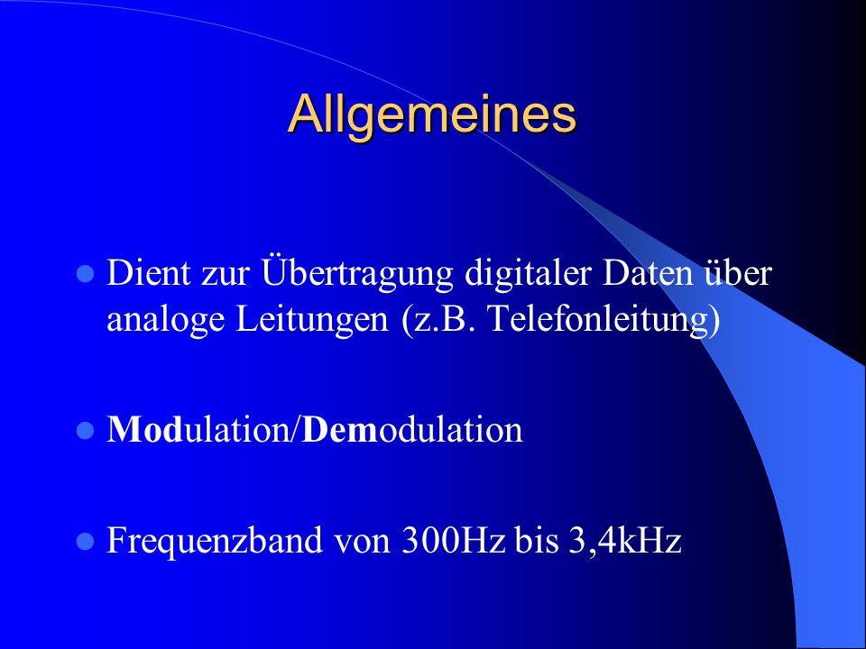 Allgemeines Dient zur Übertragung digitaler Daten über analoge Leitungen (z.B. Telefonleitung) Modulation/Demodulation Frequenzband von 300Hz bis 3,4k