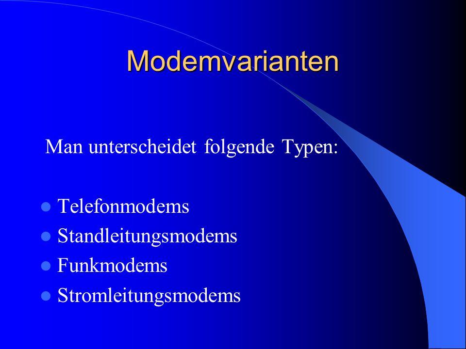 Modemvarianten Man unterscheidet folgende Typen: Telefonmodems Standleitungsmodems Funkmodems Stromleitungsmodems