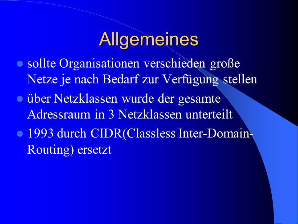Übersicht der Netzklassen NetzklasseErste BitsAdressbereichNetzlängeHostlängeNetze Hosts pro Netz Klasse A0...