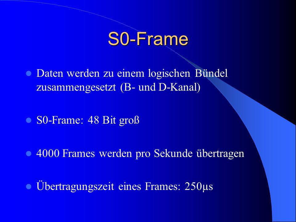 S0-Frame Daten werden zu einem logischen Bündel zusammengesetzt (B- und D-Kanal) S0-Frame: 48 Bit groß 4000 Frames werden pro Sekunde übertragen Übert