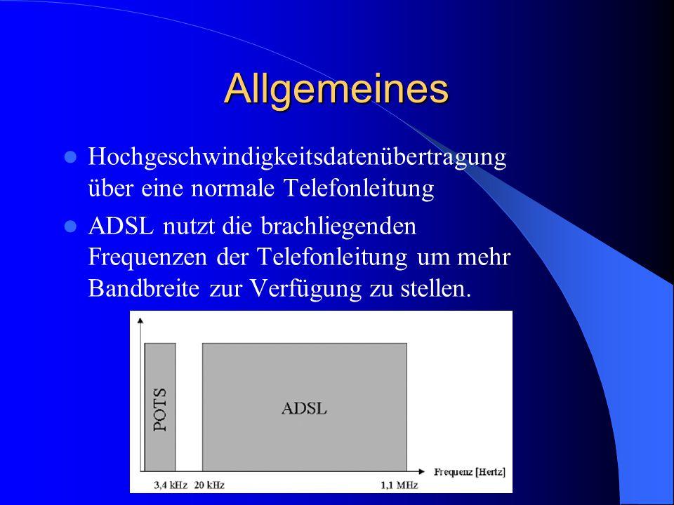 Allgemeines Hochgeschwindigkeitsdatenübertragung über eine normale Telefonleitung ADSL nutzt die brachliegenden Frequenzen der Telefonleitung um mehr