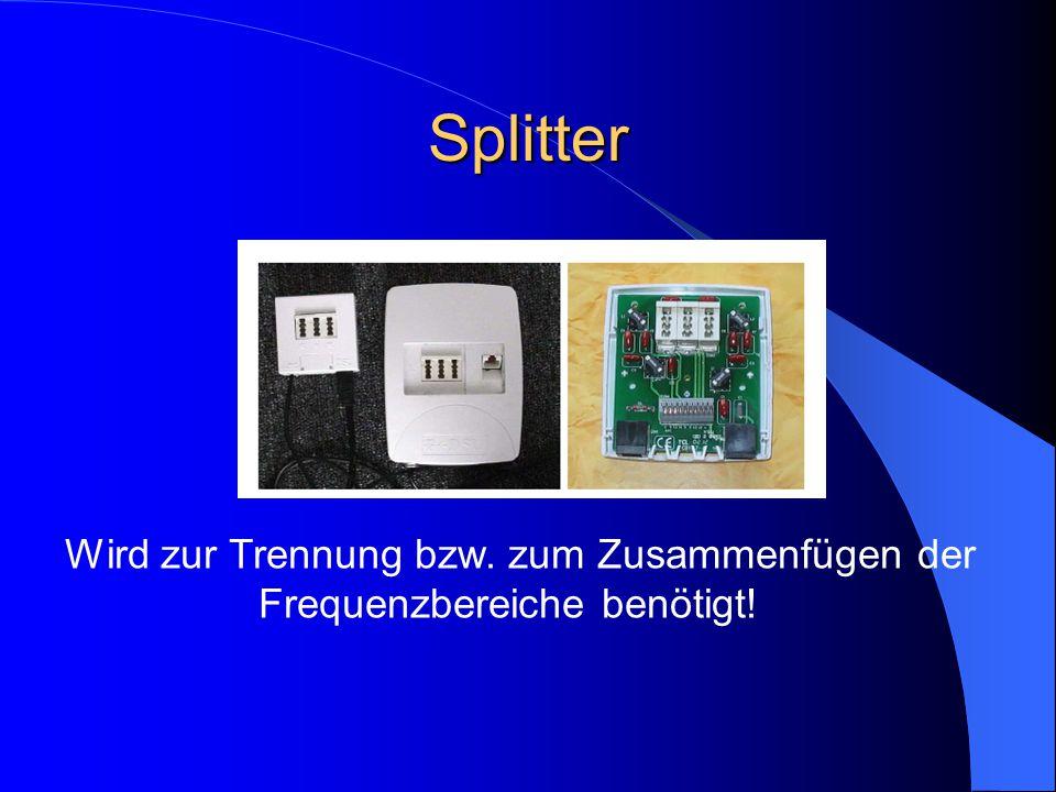 Splitter Wird zur Trennung bzw. zum Zusammenfügen der Frequenzbereiche benötigt!