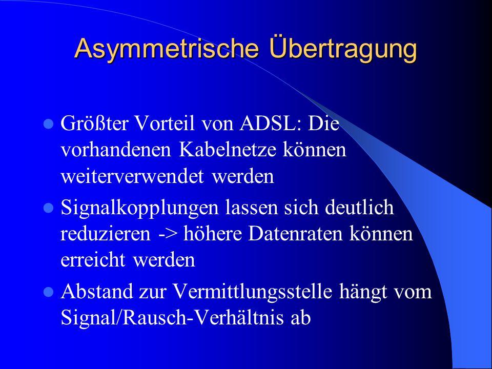 Asymmetrische Übertragung Größter Vorteil von ADSL: Die vorhandenen Kabelnetze können weiterverwendet werden Signalkopplungen lassen sich deutlich red