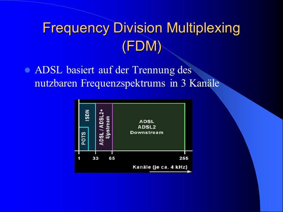 Frequency Division Multiplexing (FDM) ADSL basiert auf der Trennung des nutzbaren Frequenzspektrums in 3 Kanäle