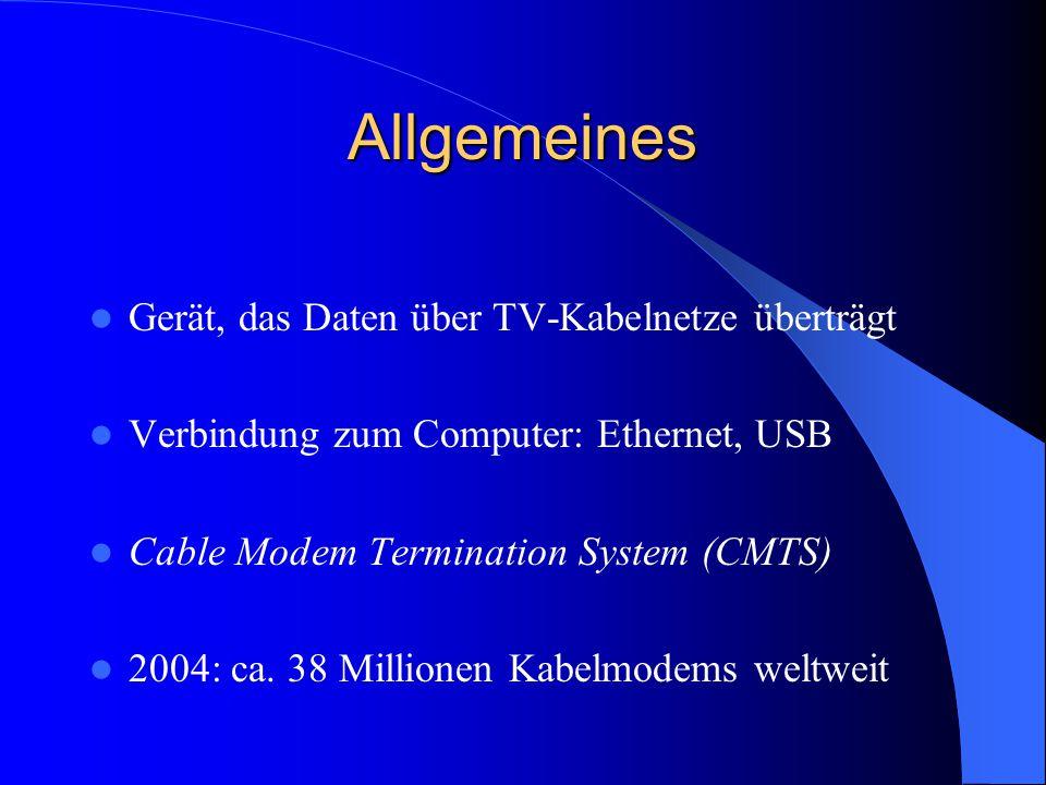 Allgemeines Gerät, das Daten über TV-Kabelnetze überträgt Verbindung zum Computer: Ethernet, USB Cable Modem Termination System (CMTS) 2004: ca. 38 Mi