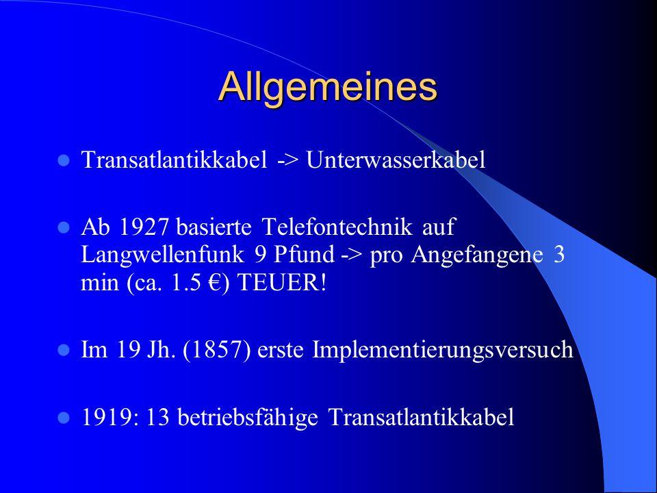 Allgemeines Transatlantikkabel -> Unterwasserkabel Ab 1927 basierte Telefontechnik auf Langwellenfunk 9 Pfund -> pro Angefangene 3 min (ca. 1.5 €) TEU