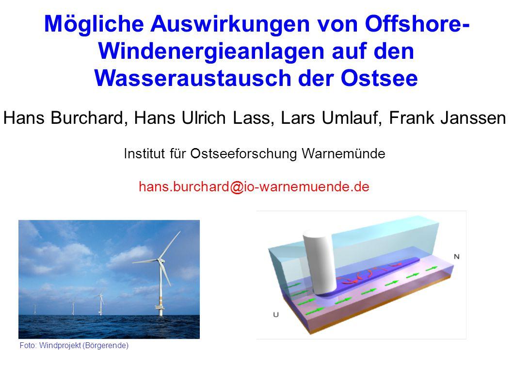 Mögliche Auswirkungen von Offshore- Windenergieanlagen auf den Wasseraustausch der Ostsee Hans Burchard, Hans Ulrich Lass, Lars Umlauf, Frank Janssen