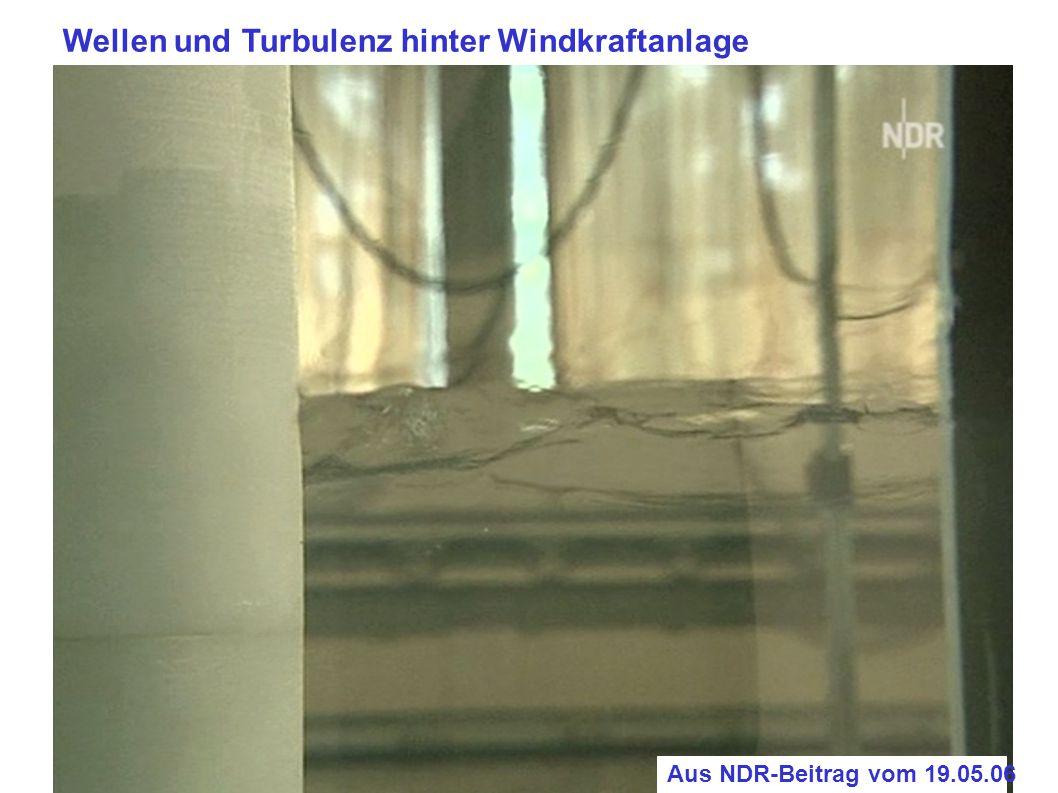 Wellen und Turbulenz hinter Windkraftanlage Aus NDR-Beitrag vom 19.05.06