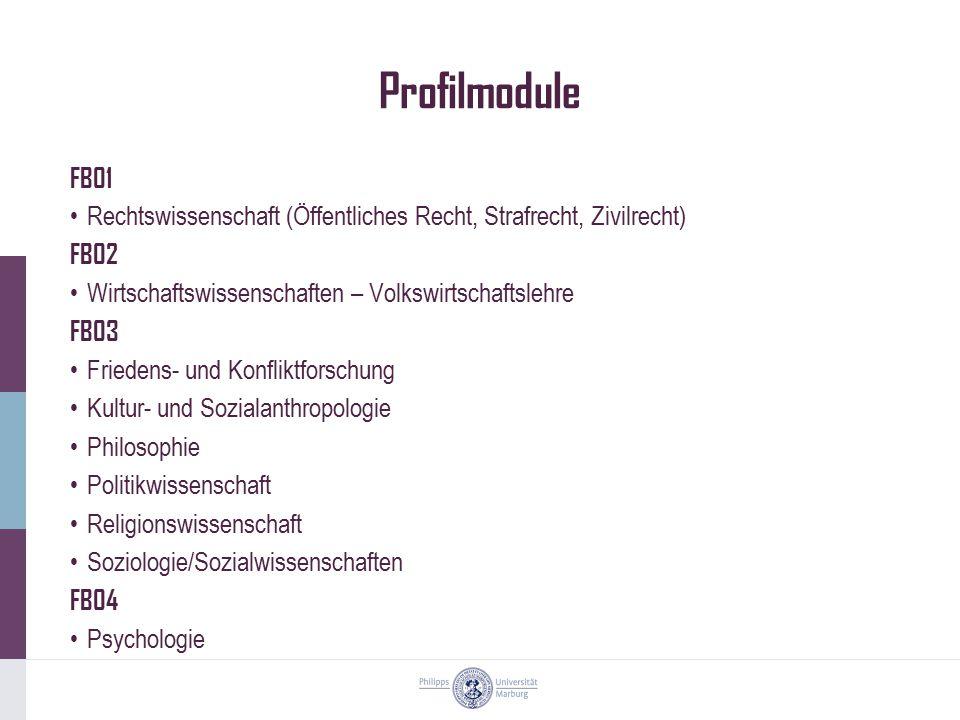 Profilmodule FB01 Rechtswissenschaft (Öffentliches Recht, Strafrecht, Zivilrecht) FB02 Wirtschaftswissenschaften – Volkswirtschaftslehre FB03 Friedens