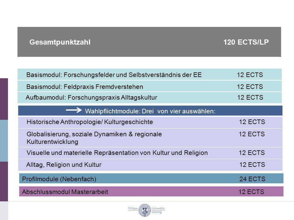 Basismodul: Forschungsfelder und Selbstverständnis der EE 12 ECTS Basismodul: Feldpraxis Fremdverstehen 12 ECTS Aufbaumodul: Forschungspraxis Alltagsk