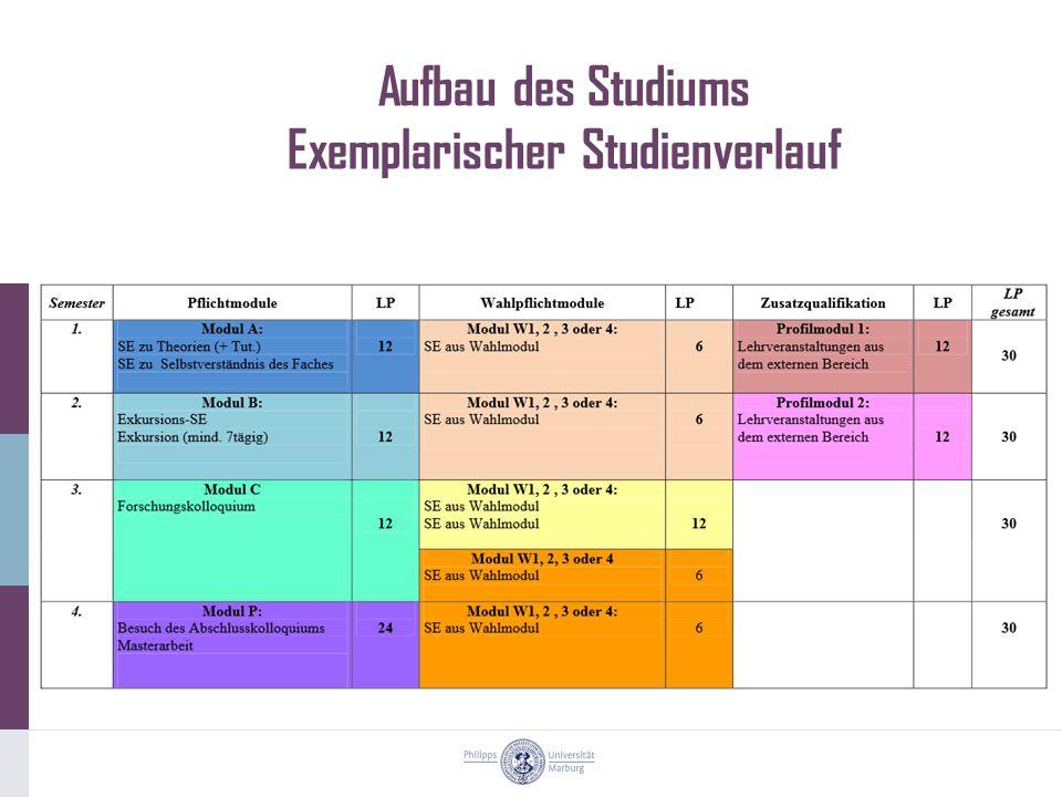 Aufbau des Studiums Exemplarischer Studienverlauf