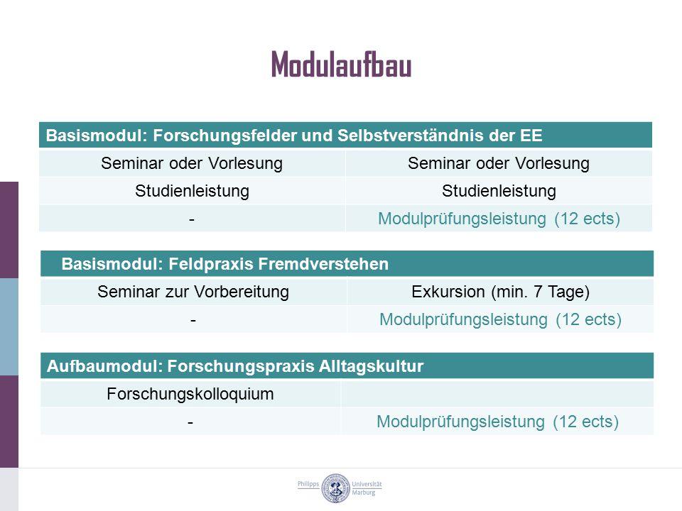 Modulaufbau Basismodul: Forschungsfelder und Selbstverständnis der EE Seminar oder Vorlesung Studienleistung -Modulprüfungsleistung (12 ects) Aufbaumo