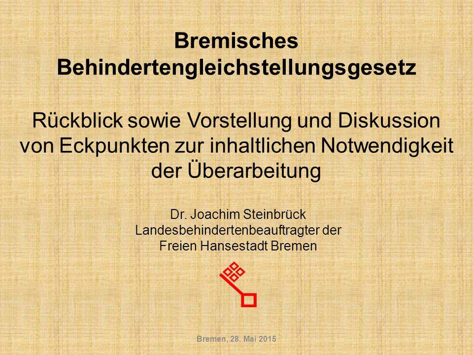 § 9 Barrierefreie Informationstechnik Anregung des Landesbehindertenbeauftragten der Freien Hansestadt Bremen: Zu prüfen ist, ob diese Regelung nicht so konkretisiert werden kann, dass sie insgesamt eine barrierefreie Gestaltung der informationstechnischen Systeme vorschreibt – so dass einerseits die Software, die bremische Beschäftigte am Arbeitsplatz nutzen müssen, barrierefrei zu sein hat – so dass die Nutzung der Systeme durch Bürgerinnen und Bürger z.B.