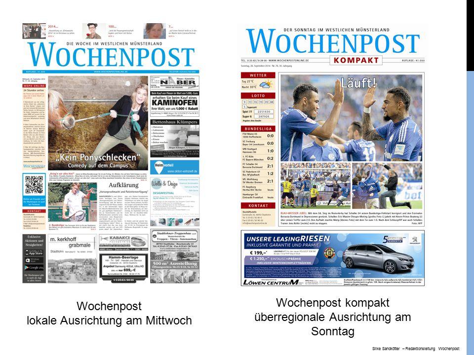 Internetauftritt: www.wochenpostonline.de Nachberichterstattung, Termine, Kleinanzeigen Monatlich rund 150.000 Besucher Silke Sandkötter – Redaktionsleitung Wochenpost
