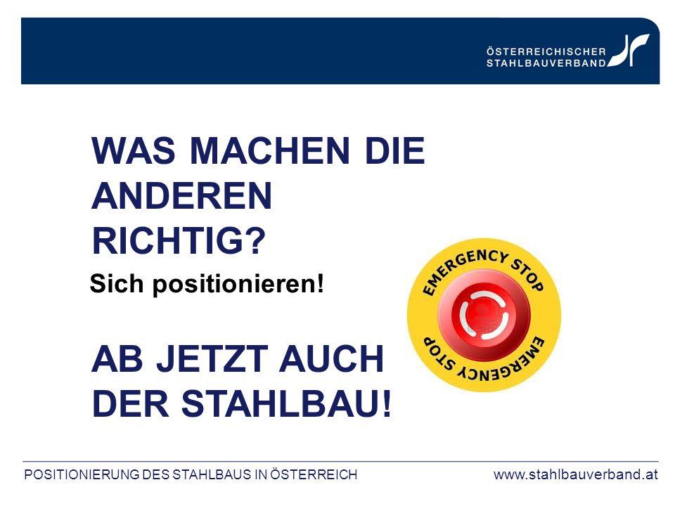 POSITIONIERUNG DES STAHLBAUS IN ÖSTERREICH www.stahlbauverband.at WAS MACHEN DIE ANDEREN RICHTIG? AB JETZT AUCH DER STAHLBAU! Sich positionieren!