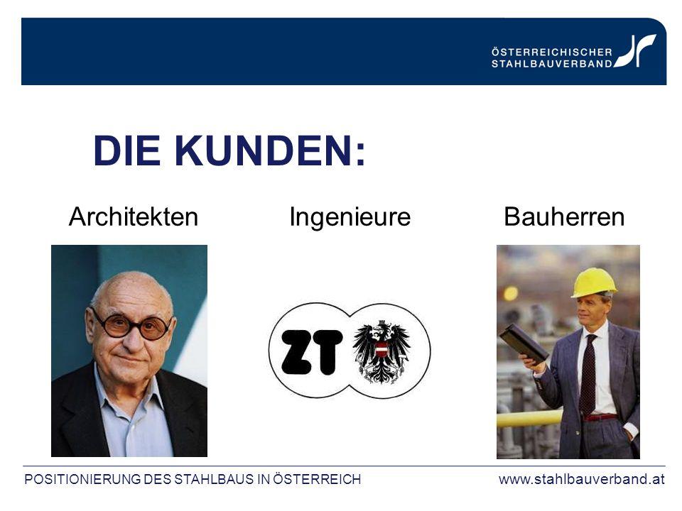 DIE KUNDEN: ArchitektenIngenieureBauherren POSITIONIERUNG DES STAHLBAUS IN ÖSTERREICH www.stahlbauverband.at